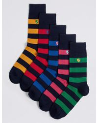 Marks & Spencer - 5 Pack Cool & Freshfeettm Striped Socks - Lyst