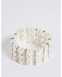 Marks & Spencer | Pearl Effect Diamanté Stretch Bracelet | Lyst