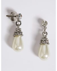 Marks & Spencer - Pearl Effect Diamanté Almond Drop Earrings - Lyst
