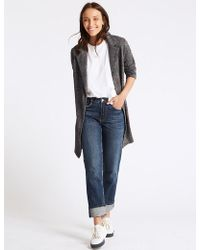 Marks & Spencer - Checked Open Front Coat - Lyst