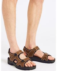 Marks & Spencer - Big & Tall Leather Riptape Sandals - Lyst