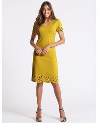 Marks & Spencer - Cutwork V-neck Short Sleeve Tunic Dress - Lyst