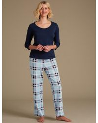 Marks & Spencer - Pure Cotton Checked 3⁄4 Sleeve Pyjama Set - Lyst