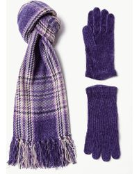 Marks & Spencer - Checked Scarf With Gloves Set - Lyst