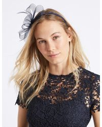 Marks and Spencer Feather Clip Fascinator navy MOI3Jwdz5