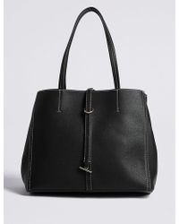 Marks & Spencer - Faux Leather Stitch Detail Tote Bag - Lyst