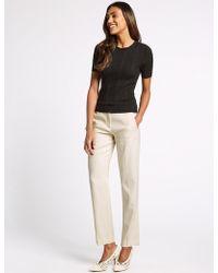 Marks & Spencer - Linen Blend Straight Leg Trousers - Lyst