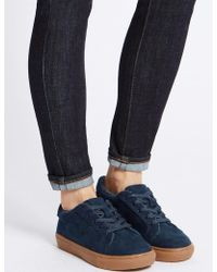 Marks & Spencer - Fur Lace-up Trainers - Lyst