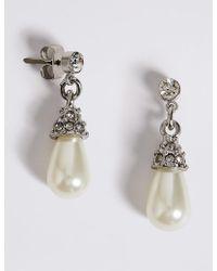 Marks & Spencer - Pearl Effect Diamanté Almond Drop Earrings - Lyst