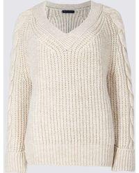 Marks & Spencer - Cable Knit Sleeve V-neck Jumper - Lyst