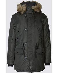 Marks & Spencer - Faux Fur Parka Coat - Lyst