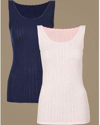 Marks & Spencer - 2 Pack Thermal Built-up Shoulder Vests - Lyst