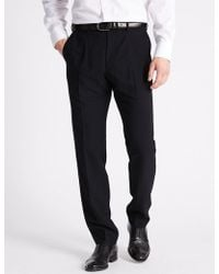 Marks & Spencer - Slim Fit Flat Front Trousers - Lyst