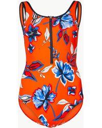 f78a91ed6d385 Black Crinkle Stripe Resin Ring Swimsuit. £25. New Look · Marks   Spencer -  Secret Slimmingtm Zip-up Swimsuit - Lyst