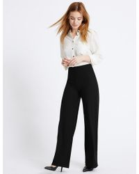 Marks & Spencer - Petite Wide Leg Trousers - Lyst