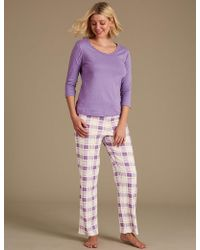 Marks & Spencer - Pure Cotton Checked Pyjama Set - Lyst