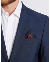 Marks & Spencer - Pure Silk Poppy Print Pocket Square - Lyst