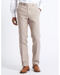 Marks & Spencer - Linen Miracle Flat Front Trousers - Lyst