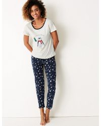 Marks & Spencer - Penguin Print Short Sleeve Pyjama Set - Lyst