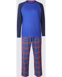748d4a8003 Marks   Spencer - Big   Tall Brushed Cotton Checked Christmas Pyjama Set -  Lyst