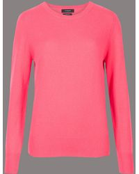 Marks & Spencer - Pure Cashmere Ribbed Round Neck Jumper - Lyst