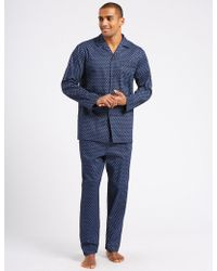 Marks & Spencer - Pure Cotton Printed Pyjama Set - Lyst