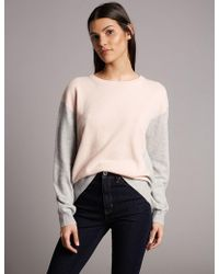 Marks & Spencer - Pure Cashmere Oversized Colour Block Jumper - Lyst