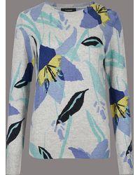 Marks & Spencer - Pure Cashmere Floral Print Jumper - Lyst