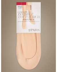 Marks & Spencer - 2 Pack Cotton Rich Low Cut Footsies - Lyst