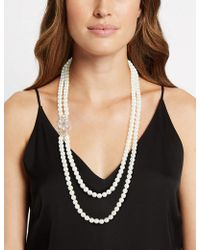Marks & Spencer - Pearl Effect Double Row Brooch Necklace - Lyst