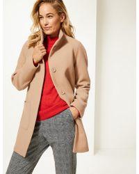 Marks & Spencer - Wool Rich Funnel Neck Coat - Lyst