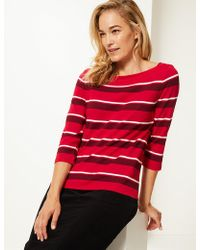Marks & Spencer - Striped Boat Neck 3/4 Sleeve Top - Lyst