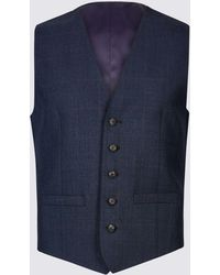 Marks & Spencer - Indigo Checked Tailored Fit Wool Waistcoat - Lyst