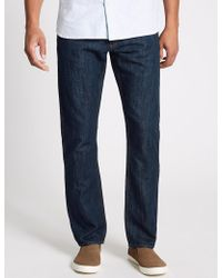 Marks & Spencer - Cotton Linen Straight Fit Authentic Jeans - Lyst