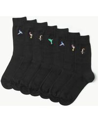 Marks & Spencer - 7 Pack Bird Embroidered Cotton Rich Socks - Lyst