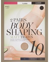 Marks & Spencer - 2 Pair Pack 10 Denier Secret Slimmingtm Matt Body Shaper Tights - Lyst