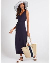 Marks & Spencer - Striped Straw Shopper Bag - Lyst