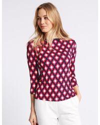 Marks & Spencer - Geometric Print Slash Neck 3/4 Sleeve T-shirt - Lyst