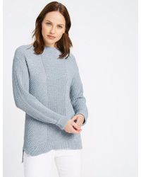 Marks & Spencer - Pure Cotton Cabe Knit Ah Neck Juper - Lyst