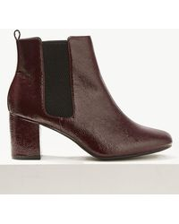 Marks & Spencer - Wide Fit Leather Block Heel Ankle Boots - Lyst