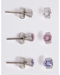 Marks & Spencer - 3 Pack Stud Earrings Made With Swarovski Elements - Lyst