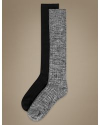 Marks & Spencer - 2 Pair Pack Heavyweight Sumptuously Soft Knee High Socks - Lyst