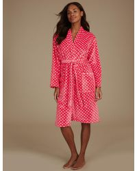 Marks & Spencer - Supersoft Spotted Long Sleeve Dressing Gown - Lyst