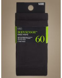 Marks & Spencer - 2 Pair Pack 60 Denier Body Sensortm Opaque Knee Highs With Silver Technology - Lyst