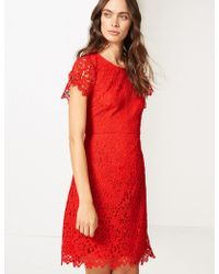 Marks & Spencer - Lace Short Sleeve Skater Dress - Lyst