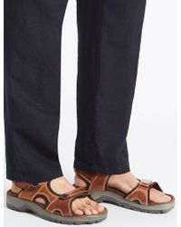 Marks & Spencer - Leather Twin Strap Riptape Sandals - Lyst