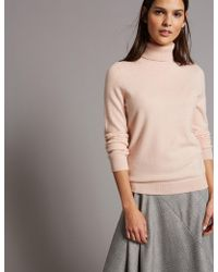 Marks & Spencer - Pure Cashmere Roll Neck Jumper - Lyst