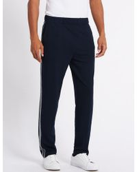 Marks & Spencer - Cotton Rich Tailored Fit Textured Joggers - Lyst