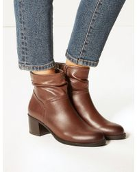 Marks & Spencer - Leather Ruched Jeans Boots - Lyst