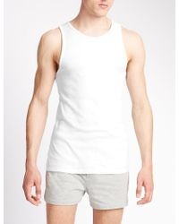 Marks & Spencer - 3 Pack Pure Cotton Sleeveless Vests - Lyst